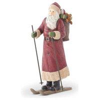 Santa Figurine With Backpack and Skiis