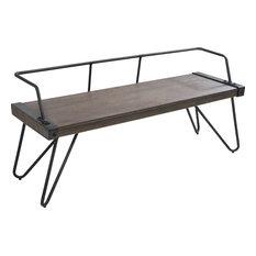 LumiSource   Stefani Bench, Walnut Wood, Antique   Dining Benches