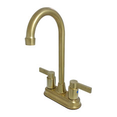 "Kingston Brass KB8497NDL 4"" Centerset Bar Faucet, Satin Brass"