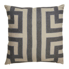 "Jaipur Living Ordella Gray/Silver Geometric Throw Pillow 22"", Down Fill"