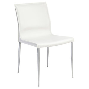 """18.5"""" W Set of 2 Dining Chair Smooth White Leather Seat Chrome Steel Frame"""