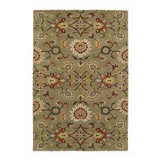 Kaleen Hand-Tufted Middleton Green Wool Rug, 8'x10'