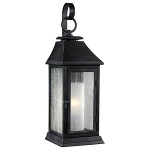 Outdoor Traditional Wall Lantern, Antique Silver, Small