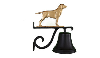 Cast Bell With Lab Ornament, Gold