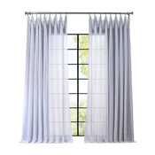 "Signature Double Wide White Sheer Curtain Single Panel, 100""x108"""