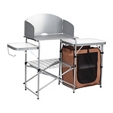 Costway Foldable Camping Table Outdoor BBQ Portable Grilling Stand w/ Bag