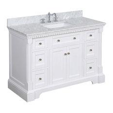 "Sydney Bath Vanity, White, 48"", Carrara Marble, Single Sink"