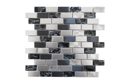 Eden Mosaic Stainless Steel and Crackled Glass Mosaic Mix, Sample