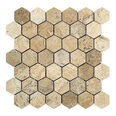 Philadelphia Travertine Hexagon Mosaic, 2 X 2 Tumbled