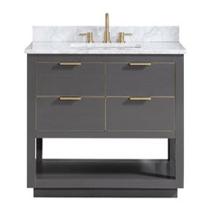 "Avanity Allie 37"" Vanity, Twilight Gray/Gold With Carrara White Top"