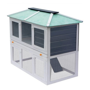 VidaXL Animal Rabbit Cage, Double Floor Wood