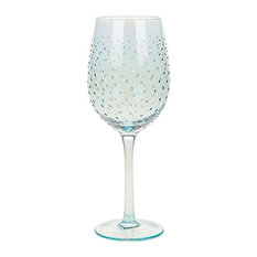 Sunny by Sue Blue Lustre with Dots Wine Goblet Glass, Hand Decorated