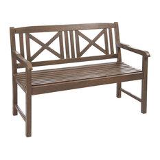 Saigon Wood Garden Bench, Grey