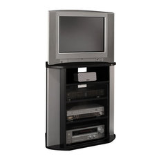 bush business furniture bush visions corner tv stand in black with metal silver finish