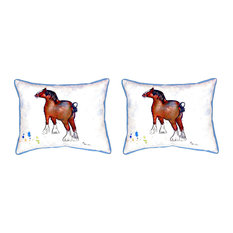 Pair of Betsy Drake Clydesdale Small Pillows 11 Inch X 14 Inch