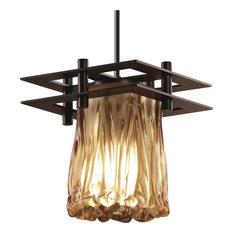 Veneto Luce - Metropolis Small Pendant (2 Flat Bars) - Dark Bronze, Amber Veneti