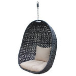 Harmonia Living - Harmonia Living Nimbus Patio Hanging Chair, Coffee Bean - The Nimbus Outdoor Hanging Chair is a new way to hang out in your outdoor space. A built-in spring lets you sit back and relax on comfortable stone colored outdoor cushions while gentle breezes sway you back and forth. Meanwhile, sturdy High-Density Polyethylene (HDPE) wicker infused with UV protection and a coffee bean color is weaved into a nest-like pattern to cradle you in comfort. It is the perfect spot to read a book, enjoy a glass of your favorite beverage or take an afternoon nap. And with its durable construction, you will have the peace of mind of knowing your Nimbus will turn your patio into an outdoor oasis for years and years. An ideal piece for any outdoor space regardless of the size, your Nimbus will be the envy of all your grounded friends.Features:
