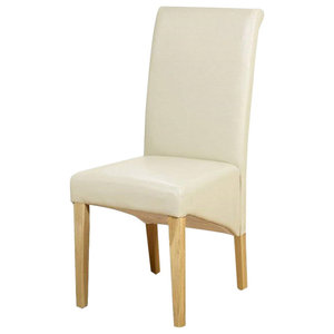 Contemporary High Back Chair, Faux Leather With Oak Finished Wooden Legs, Ivory