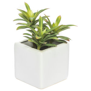 Artificial Green Leaf Plant in Square White Vase