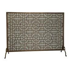 Fireplace Screen, Single Panel Geometric, Light Burnished Gold