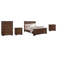 Rhiannon Vintage Oak Wood 4-Piece Bedroom Set, King
