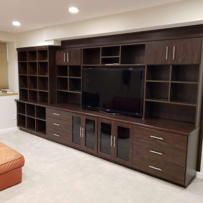 Dark Wood Cabinetry & Media Unit