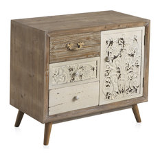 Natural Wooden Cabinet With 3 Drawers and 1 Door