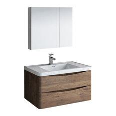 36-inch Rosewood Wall Hung Bathroom Vanity Set Versa Faucet Brushed Nickel