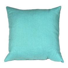 Pillow Decor - Tuscany Linen Turquoise 20 x 20 Throw Pillow