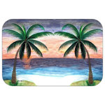 "Mary Gifts By The Beach - Twin Palms Plush Bath Mat, 30""x20"" - Bath mats from my original art and designs. Super soft plush fabric with a non skid backing. Eco friendly water base dyes that will not fade or alter the texture of the fabric. Washable 100 % polyester and mold resistant. Great for the bath room or anywhere in the home. At 1/2 inch thick our mats are softer and more plush than the typical comfort mats.Your toes will love you."