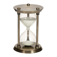 """Rustic Iron and Hourglass 15-Minute Sand Timer, 9"""""""