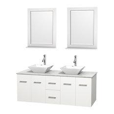 "Centra 60"" White Double Vanity, White Carrera Marble Top, White Porcelain Sinks"