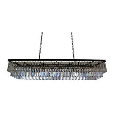 Lightupmyhome D'Angelo 60 Inch Rectangular Crystal Fringe Chandelier, Clear