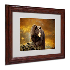 Trademark Fine Art   U0027The Bear Went Over The Mountainu0027 Matted Framed Canvas  Art. U0027