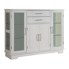 Pilaster Designs  White Wood Kitchen Buffet Display Cabinet With Storage Drawers U0026 Glass Doors