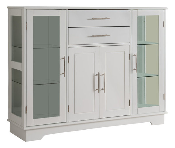 White Wood Kitchen Buffet Display Cabinet With Storage Drawers