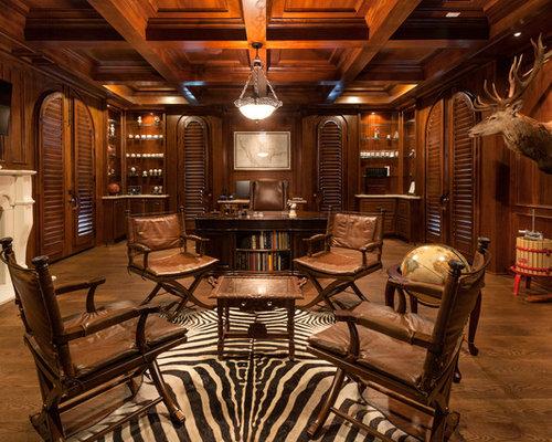 Inspiration For A Huge Rustic Freestanding Desk Medium Tone Wood Floor Study Room Remodel In Houston