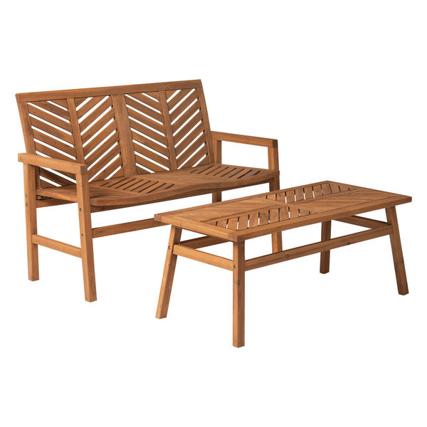 Keep things cozy and close to home with this loveseat and coffee table outdoor patio set. This comfortable two-seater bench features a chevron slat design for a fresh and updated take on outdoor furniture, while maintaining a sense of style that will last throughout the years. Made of solid acacia wood this chat set is weather resistant and sturdy enough to handle those conversations that go on long after the sun has gone down.Dimensions:Bench: 35\