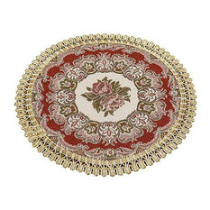 Set of 2 Embroidery Flora Pattern Round Insulation Placemats, Cloth Placemats