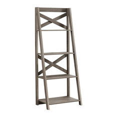 Home Office Ladder Etagere Bookshelf With 4 Tier Open Shelves - Dark Taupe