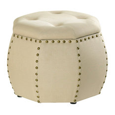 Roxie Rose Tufted Storage Stool, Cream with Brass Nail Heads