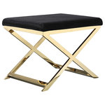 Pangea Home - Gold Lexi Stool, Velvet Black - Clean and modern gold frame stool, perfect for any room. Made of elegant polished steel and designer fabric.