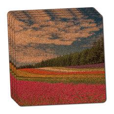 Flower Garden Field Thin Cork Coaster Set of 4