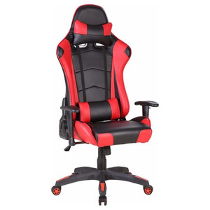 Modern Gaming Chair Upholstered, PU Leather With Head, Lumbar Pillow, Red