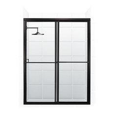 """Newport Bypass Sliding Shower Door, Black Bronze, 45.5""""x70"""""""