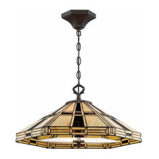 Mircea 3-Light Pendant Dark Bronze Tiffany Glass
