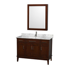 "Hatton 48"" Dark Chestnut Single Vanity, White Carrera Marble Top and Square Sink"