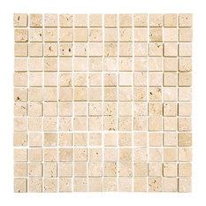 Tumbled Tile On Mesh, Ivory, 12''x12''