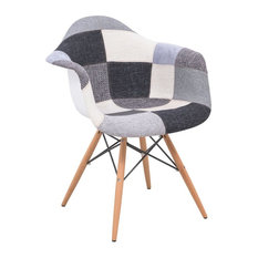 LeisureMod Willow Patchwork Fabric Eiffel Accent Chair