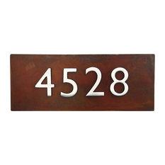"20""x8"" Address Plaque, Rust, Horizontal"